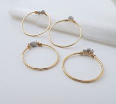Delicate Raw Diamond Rings set of 4 dainty gold by violetfly