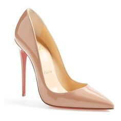 """Christian Louboutin 'So Kate' Pointy Toe Pump, 4 3/4"""" heel (2.670 BRL) ❤ liked on Polyvore featuring shoes, pumps, heels, louboutin, chaussure, high heels, nude, nude high heel pumps, stiletto pumps and red sole shoes"""