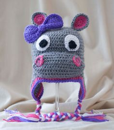 Little Miss Hippo Crocheted Hat by HappyBubblesCouture on Etsy