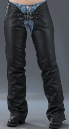 Ladies-Sexy-Low-Rise-Boot-Cut-Cowhide-Leather-Chaps-HD745-for-Motorcycle-Riders