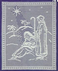 *White Christmas Collection - Blessed Nativity in Filet Crochet Filet Crochet Charts, Crochet Cross, Thread Crochet, Crochet Stitches, Christmas Crochet Patterns, Holiday Crochet, Crochet Home, Crochet Tablecloth, Crochet Doilies