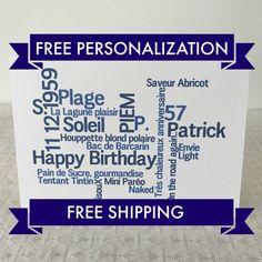 Bi-lingual French English Birthday card, SHIPS FAST and FREE, Free Personalization by weheartcards on Etsy