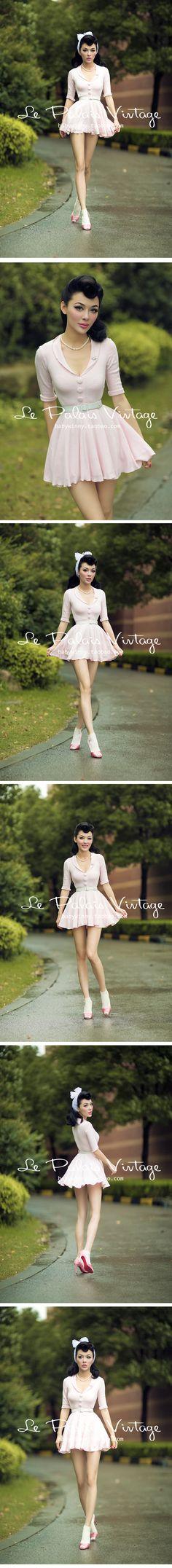 le palais vintage 复古甜美PIN UP粉色毛线紧身超短蓬蓬裙0.25-淘宝网