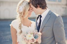 love her relaxed style, fish tale braid and vintage inspired lace / dress #bohobride #fishtalebraid #wedding
