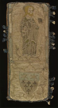 Orphrey (cushion) -unknown- ca. 1329-1354 This embroidery reveals how a medieval ecclesiastical vestment might be cut down and re-used. A portion of an orphrey band has become a cushion by sewing it to a leather backing and putting decorative fringing around it. An orphrey is a decorative band used to adorn the vestments (priestly garments) used by Christian clergy (in particular, chasubles and copes) for church services. The cushion may have been used for kneeling for prayer.