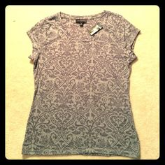 The Limited Grey Damask Burnout Layering Tee Brand new, grey damask burnout short sleeved t-shirt. Material is slightly sheer - nice for layering. Soft, comfortable and casual shirt that's great for the summer! Bundle discounts available! The Limited Tops Tees - Short Sleeve