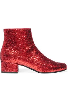 Heel measures approximately 40mm/ 1.5 inches Red glittered leather Zip fastening along side Come with dust bag Made in Italy