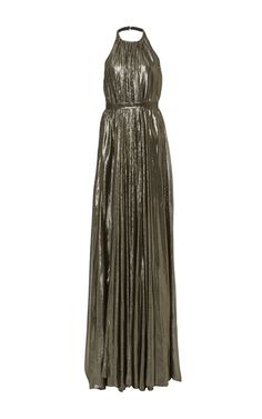 This **Hensely** gown evokes a Grecian air through its empire waist, metallic finish and floor length, accordion construction.