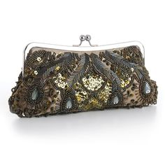 Our lavish 10 w x 4 12 h khaki-olive  satin evening bag is adorned with iridescent olive seed beads, bugle  beads, sequins & clear gems. This dressy beaded clutch purse with a  silver frame & kiss clasp includes detachable silver wrist &  shoulder chains.    This opulent Olive Green  evening bag will accessorize any dress for weddings, mothers of the  brides, galas, bridesmaids or nights on the town. This beaded evening  clutch purse has generous room for a phone, keys, wallet