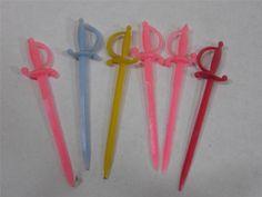 Sword Swizzle Stir Sticks Vintage Plastic Set Of Six Barware Drink Stirrers
