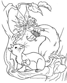 Fairy Coloring Pages For Adults | here s a fairy with a squirrel and a fairy with a big coloring or ...