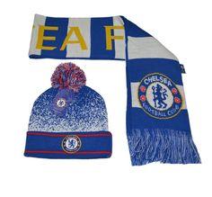 e0be2398c61 Chelsea FC Beanie W  Pom and Scarf Reversible Winter Cap Hat New Season   Rhinox