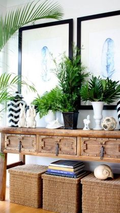 Love the natural elements- seagrass and plants