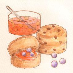 「スコーン」「Scone」水彩イラスト Illustration:Shoko.h
