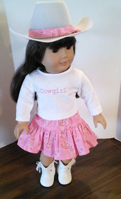 """18"""" Doll Clothes fits American Girl - Cowgirl Outfit with Pink Bandana Skirt, T-shirt and Hat on Etsy, $26.00"""