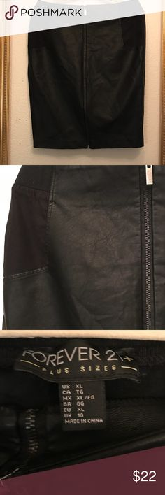 Forever 21 plus pencil faux leather black skirt xl Zipper details stretch on waist Excellent conditions pet smoke free home ask before offer please check my closet and save have a great day blessings and thanks 🙏 Forever 21 Skirts Pencil