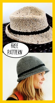 Unisex Crocheted Fedora - FREE Pattern - Nana's Favorites - - This trendy crocheted Fedora features a roll-up brim and can be worn either as a Fedora or a Bowler. Easy to make in one evening with this FREE pattern! Crochet Newsboy Hat, Crochet Hat With Brim, Easy Crochet Hat, Crochet Hat For Women, Crochet Beanie Pattern, Crochet Woman, Knitted Hats, Knit Crochet, Crochet Dolls