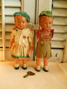 Antique German Wind- Up Dolls With Key Hard Celluloid Dolls, Cloth Clothes Jointed Arms Toys Collectible Antique Dolls on Etsy, $25.00