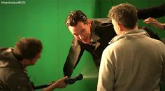 SHERLOCK (BBC) ~ Benedict Cumberbatch (Sherlock Holmes) Behind the scenes during filming of the pre-Season 4 special SHERLOCK: THE ABOMINABLE BRIDE. [GIF]