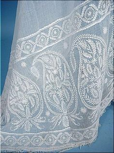 Antique Shawl - c. 1810 - 1820 Early 19th Century Ayrshire Embroidered Whitework Muslin Stole