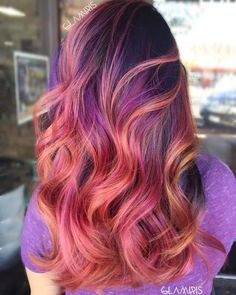 I would LOVE these Strawberry Blonde, Pink And Purple Highlights but I would like it all blend in to a BIT more traditional look on top.and lighter on top. More strawberry blond and auburn on top. Hair Color Highlights, Red Hair Color, Blonde Color, Cool Hair Color, Purple Hair, Ombre Hair, Red Ombre, Hair Dye, Pink Purple