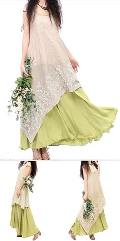 $27.79 Vintage Embroidery Layered Irregular Hem Elegant Patchwork Women Dress Lagen look moe white lace and green