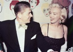 photosofthehistoryandwithhstory:  Ronald Reagan shares a laugh with Marilyn Monroe in Los Angeles 1959.