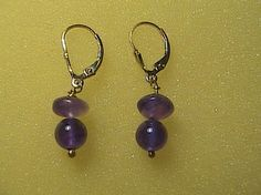 Fashion 14k Yellow Gold Filled Amethyst Lever Back Earrings, hallmarked 1/20 14k Gold Filled.