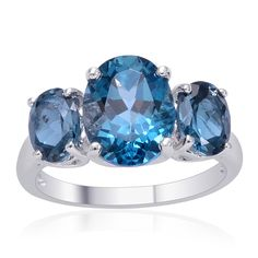 Liquidation Channel | London Blue Topaz 3-Stone Ring in Sterling Silver (Nickel Free)