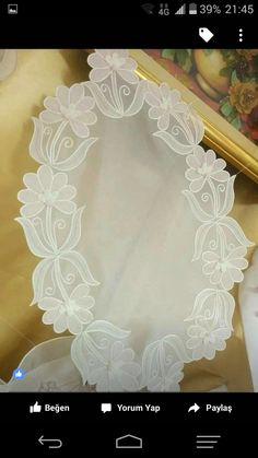 This Pin was discovered by Zey Silk Ribbon Embroidery, Crewel Embroidery, White Embroidery, Embroidery Patterns, Romanian Lace, Organza, Handmade Table, Parchment Craft, Point Lace