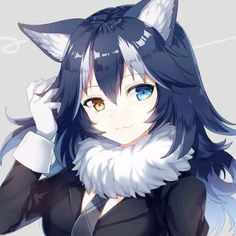cute anime wolf girl with blue hair Anime Neko, Kawaii Anime Girl, Manga Anime, Anime Wolf Girl, Anime Art Girl, Manga Girl, Anime Girls, Anime Style, Anime Lindo