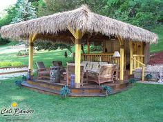Tiki Bar and Hut with bamboo poles and palm thatch. From Cali Bamboo Outdoor Kitchen Bars, Outdoor Kitchen Design, Outdoor Kitchens, Bares Tiki, Backyard Beach, Backyard Ideas, Backyard Shade, Gazebo Ideas, Garden Ideas