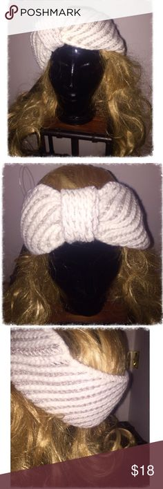 Stunning white &silver crocheted handknit headband 🐇PeRfEcT for the❄️🐇! It's almost time!! Grab the newest cold weather wear of the season now! Beautifully hand crocheted soft white acrylic with silver viscose. Fits almost any head size XS-Xxl. Sparkle as you hit the powder.. Or just walking through the village! How fun!   *deep burgundy color in another listing* Accessories