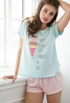 "Sprinkles On Top PJ Set | Forever 21 | mint/pink | We can never resist the call of a sweet treat, and we prefer ours with two scoops, on a cone, and ""Pretty Please With Sprinkles On Top"" as this PJ set's tee boasts (next to a cute graphic of a smiling ice cream cone, of course). With matching shorts covered in the same sweet motif to complete your adorable look, this comfy set is especially perfect for sleepovers spent snacking and dining on desserts."