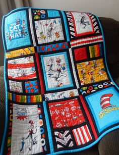 Items similar to Dr Seuss Cat in the Hat Quilt on Etsy Dr Seuss Cat in the Hat Quilt Big Block Quilts, Cute Quilts, Lap Quilts, Small Quilts, Quilt Blocks, Quilt Baby, Quilting Projects, Sewing Projects, Fabric Panel Quilts