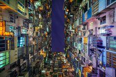 香港の高層住宅「積み重なって」幾何学アートに(画像)