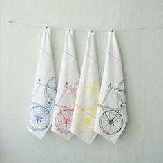 CMYK bicycle tea towel set - four hand printed cotton bike towels. $32 by Vital Industries