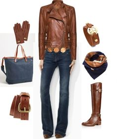 """Cognac and Denim"" by lauraleeds on Polyvore"