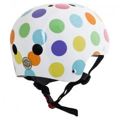 Kiddimoto - Pastel Dotty Helmet (Medium) Pastel, Bicycle Helmet, Hats, Chloe, Medium, Point Of Sale, Bicycle Kick, Hockey Helmet, Plastic