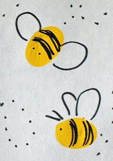 fingerprint art for kids - if done with stamps can actually see the fingerprint pattern and use as practice for magnifying glasses (pre-work? May thumbprint art Toddler Crafts, Preschool Crafts, Bee Crafts For Kids, Thumbprint Crafts, Fingerprint Heart, Fingerprint Cards, Honey Bee Hives, Honey Bees, Thumb Prints