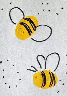 Thumbprint Honey Bee & Hive - Artsy Craftsy Mom