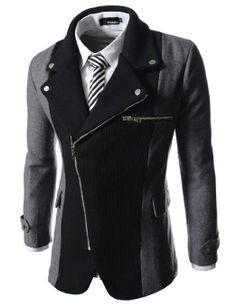 Mens casual rider style slim zipper blazer jacket