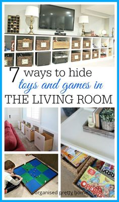 How to have a family friendly living room that works for both parents and kids.  Stylish and DIY hidden storage ideas for toys and  board games, like LEGO, puzzles, books etc.  For toddlers to have a play corner and make packing away easy.  One Room Chall