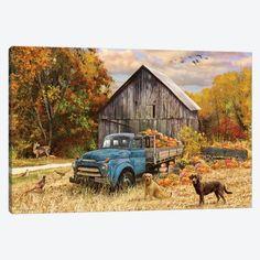 Canvas Artwork, Canvas Art Prints, Canvas Wall Art, Vintage Trucks, Old Trucks, Antique Trucks, Farm Trucks, Pickup Trucks, Old Barns