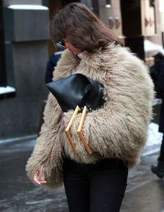 Fur Jacket and Céline Triangle Bag | Street Style