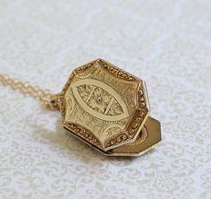 Gold Locket  Octagon Locket  Vintage Locket  by KiddoandPye, $88.00