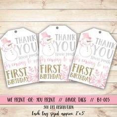 Winter Onederland Thank You Tag, Girl Winter Onederland Birthday, Girl Onederland Gift Tag, Winter Birthday Favor Tag, Pink Winter Tag - - First Birthday Winter, Baby First Birthday, 1st Birthday Parties, Birthday Celebrations, Winter Onederland Party Girl 1st Birthdays, Birthday Favors, Birthday Ideas, Birthday Nails, Birthday Decorations