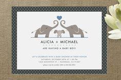 Elephant Family Baby Shower Invitations