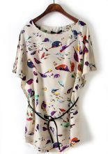 Beige Batwing Short Sleeve Birds Print Shift Dress $21.61