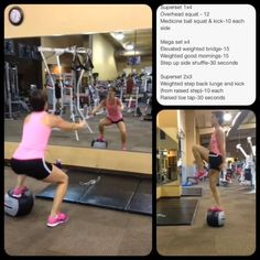 One of my favorite exercises: medicine squat and kick!